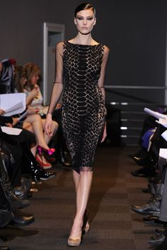 Carmen Marc Valvo Fall 2012. --- Love the sheer spotted sides!