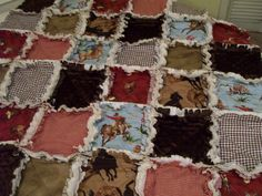Horses and Cowboys Baby Rag Quilt Ready To Ship Minky Western Brown Red Nursery Shabby Chic Style Baby Bedding on Etsy, $102.00