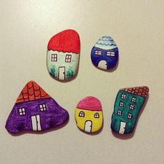 #stoneart #tasboyama #stonepainting #painting #houses #evler #taş #boyama…