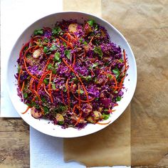 Asian Confetti Cabbage Slaw with sweet potato, fresh herbs, and mushrooms (vegan) // inmybowl.com