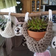 Lindsey G added a photo of their purchase Crochet Sloth, Crochet Animals, Crochet Round, Crochet Home, Easter Crochet Patterns, Crochet Hat For Women, Diy Bird Feeder, Plant Hanger, Crochet Projects