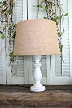 Shabby Chic, White, Distressed Lamp with Burlap Shade