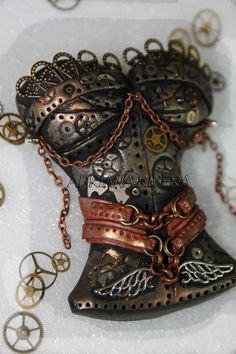 Polymer Clay Steampunk Corset by Adriana Rivera