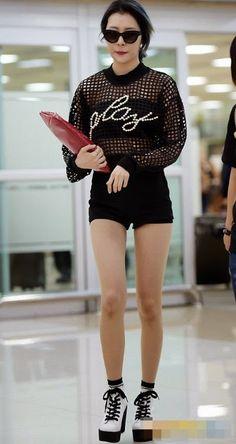 Net Top with Black Short and Black N White Short Fashion of Wonder Girls Sunmi