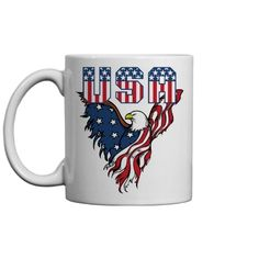 USA stars and stripes american eagle. Beer Mugs, Coffee Mugs, Etsy Handmade, Handmade Items, Invite Your Friends, All Print, Fourth Of July, Colorful Backgrounds, I Shop