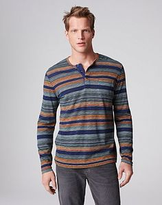 Loving this printed striped henley from Lucky Brand.