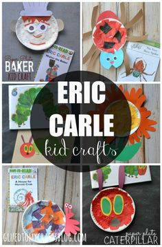Awesome Eric Carle Kid Craft Roundup For A Good Story Time Event! Eric Carle, Preschool Books, Preschool Crafts, Daycare Crafts, Daycare Ideas, Paper Plate Crafts, Book Crafts, Toddler Activities, Preschool Activities