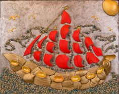 Scarlet sails  or Red sails 1, mixed media acrylic painting seashell mosaic by Alla Baksanskaya. The art work was sold.
