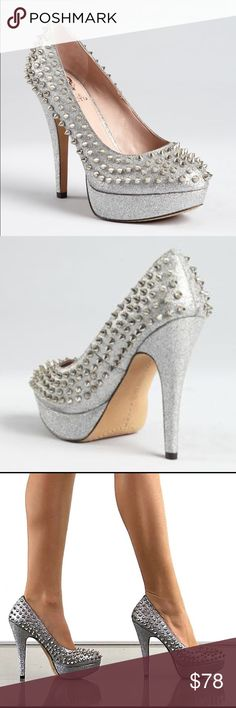 Vince Camuto Platform Silver Sparkle Spiked Heels Classic platform pumps with a twist. Sweetly silver metallic glitter with sexy silver spikes. Like New. Comes with original box. No scratches, tears, rips or missing spikes. Vince Camuto Shoes Platforms