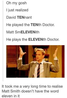 EccleNINEston plays the NINTH doctor.