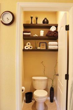 Deco wc - 12 superb ideas for toilet decoration! - Deco wc – 12 superb ideas for toilet decoration! Small Toilet Room, Small Room Design, Design Room, Tiny Bathrooms, Contemporary Bathrooms, Small Bathroom Storage, Bathroom Shelves, Diy Storage, Storage Organization