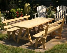 Treated Pine Picnic Table w/2 Backed Benches - 6' Picnic Table Shown with Optional Benches