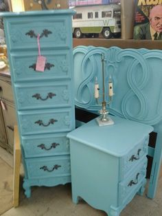 French Provincial furniture in my booth at the antique store