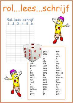 Thema 11. Goed te gebruiken bij Lijn 3 en Veilig Leren Lezen. Rol met de dobbelsteen, Tel in het woord evenveel letters als stippen op de dobbelsteen en schrijf het in het goede rijtje.