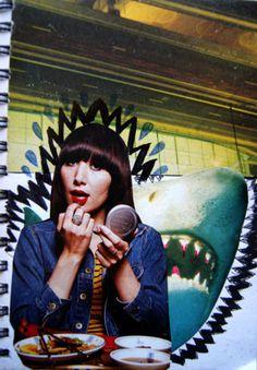 Karen O and her friendly pet shark.