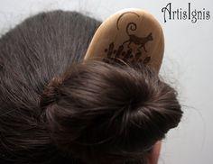Moonwalking Cat Alder Wood Hair Pin Two Pronged by ArtisIgnis