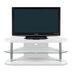 bravo corner tv stand modern dining room tables glass top dining table white shelves