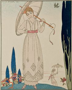 Illustration by George Barbier, July 1914, Summer Dress by Doeuillet, La Gazette du Bon Ton.