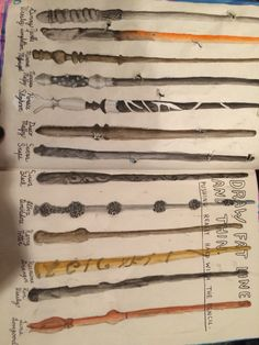 WRECK THIS JOURNAL 6.) Draw fat lines and thin. For this page I drew wands from the Harry Potter franchise, coloured them with watercolour, and wrote which character each wand belongs to underneath.