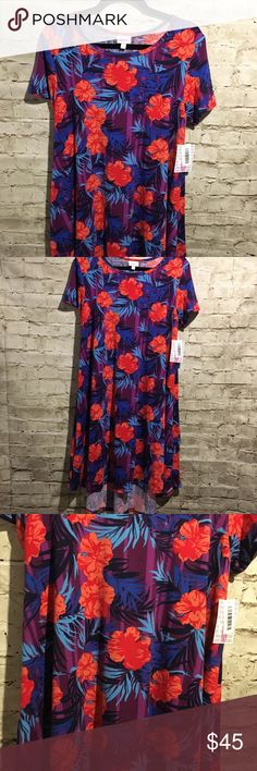 🌟 Lularoe Carly Unicorn! Md Carly !! Leggings material 😍 Hawaiian flowers great for spring/summer 🦄🦄🦄 LuLaRoe Dresses High Low
