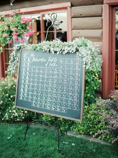Periodic Table Seating Chart - by the groom and lettering by Cast Calligraphy. Garland by Caravan Florals. Photo by Rebecca Hollis