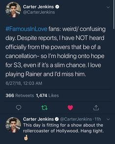 Hi guys! I know there's been rumors that famous in love has been cancelled but it looks like there's still hope. Now it's the time for us… Famous In Love, Confused, I Know, Guys, Instagram, Sons, Boys