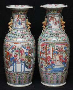 PAIR 19th CENTURY CHINESE FAMILLE ROSE PORCELAIN VASES c. 19th CENTURY QING DYNASTY