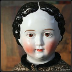 German Brown-Eyed Greiner China Doll with Pin Curls, Antique Costume from signaturedolls on Ruby Lane