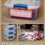 All By Myself Preschool Boxes - I love this idea!  A great way to occupy little ones while you work with older siblings.  Doesn't have to be a homeschool setting - think about when your kiddo gets home from school and has homework to do or piano to practice.  This keeps the little peeps occupied so your older peeps can focus and you are free to help.