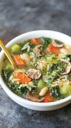 Detox Chicken Soup. Cleansing, immune-boosting soup packed with all the good stuff (kale, mushrooms, celery, carrots, etc.) without compromising any taste!