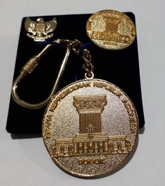 Rare Gift Set Indonesian Presidential Palace Keychain brooch pin Gold Plated 22 carat #Handmade #collectibles #collection #ebay #amazon #jewelry #gold #antique #military