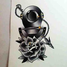 Divers helmet X Rose #Tattoo #TattooDesign #OldSchool #Traditional #Rose #NeoTraditional