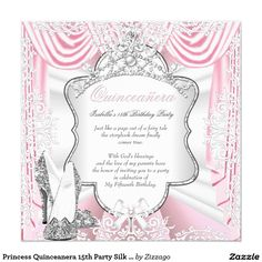 Princess Quinceanera 15th Party Silk Pink 5.25x5.25 Square Paper Invitation Card