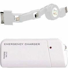 Apple iPhone 2x AA Battery Powered Emergency Cell Phone Charger w/Interchangeable Adaptors (5V, 500 mAh) - White