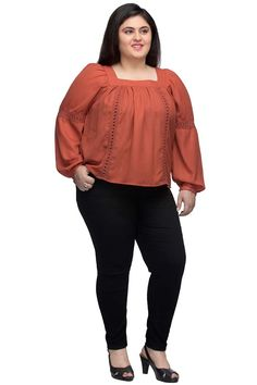 62804ffbba7d6 Buy rust solid pleated top with square neckline and long cuffed sleeves at  reasonable price.