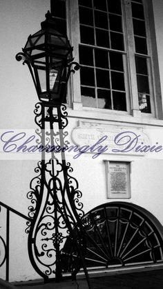 Gas Lamp Charleston SC    black & white signed by CharminglyDixie, $35.00