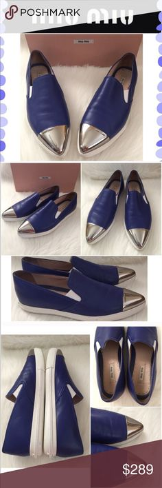 Miu Miu blue leather flats Great Preowned condition with some light wear. Blue leather and silver cap toe Miu Miu flats. Original box included. Miu Miu Shoes Flats & Loafers
