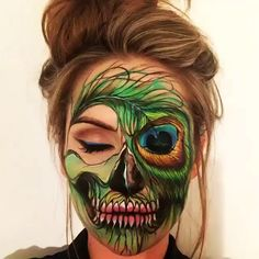 Peacock Feather Skull Make-up Artist: @the_wigs_and_makeup_manager  #sketch_daily                                                                                                                                                     More