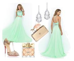 """""""Scoop Sleeveless Prom Dress"""" by johnnymuller ❤ liked on Polyvore featuring Christian Louboutin, Plukka, Alexander McQueen and Avon"""