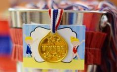 Love the idea of decorating with red white and blue themed colors  Gymnastic Themed Birthday Party Favors