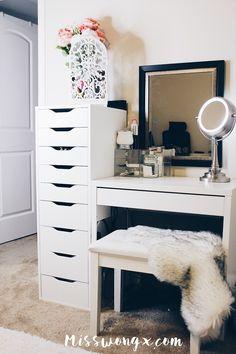 Tour of my vanity! - Tour of my vanity! Tour of my vanity! Small Bedroom Vanity, Small Vanity, Vanity Room, Ikea Vanity Table, Bedroom Vanities, Teen Room Decor, Room Ideas Bedroom, Bedroom Decor, Makeup Room Decor