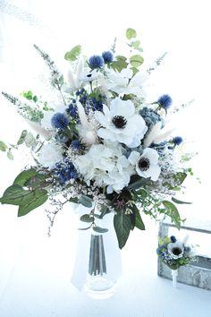 Anemone Wedding, Blue Wedding Flowers, Wedding Flower Arrangements, Flower Bouquet Wedding, Bridesmaid Bouquet, Floral Wedding, Floral Arrangements, Cascade Bouquet, Boquet