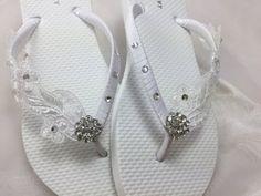 White Bridal Lace Flip Flop Bridal Sandals by KayKaysBridal