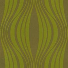 Illusion (60571) - Harlequin Wallpapers - A soft curvaceous vertical undulating geometric design in metallic lime green on a matt chocolate brown.  Available in a range of colours – please ask for a sample for a true colour match