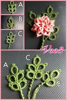 """Leaf Tatting - Vinnie's tattings: Tatting Day   """"...using Single Shuttle Split Rings. All three are done differently, going up then down, or going up and up ..."""""""