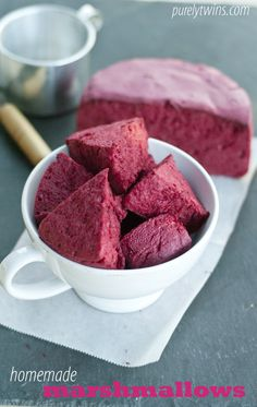 how to make homemade pink beet marshmallows via purelytwins