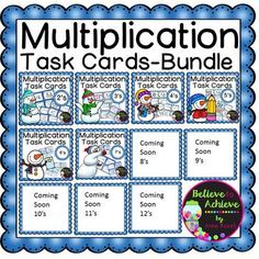 Multiplication Task Cards- Winter Theme (GROWING BUNDLE)*A 38.50 value for ONLY $21.00! ** New set of 7's were added on Jan. 13This is a GROWING BUNDLE of Multiplication task cards with a variety of questions to practice the facts! There are currently 6 sets of task cards and each set has 24 task cards!