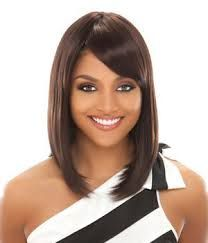 straight sleek hairstyles side bangs - Google Search
