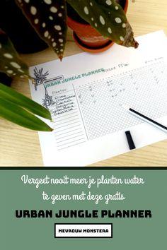 Vergeet jij ook altijd om je kamerplanten water te geven? Gebruik dan deze handige gratis planten planner. Je schrijft je planten op dit lijstje en kruist aan wanneer je water en voeding hebt gegeven. Handig toch zo'n overzicht! Plant Leaves, Plants, Plant, Planets