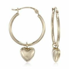 Heart Charm Hoop Earrings in 14kt Yellow Gold Ross-Simons. $95.00